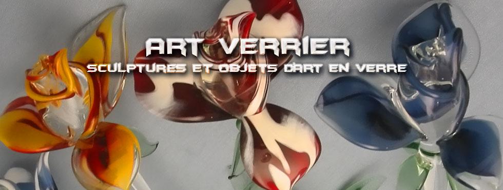 Art Verrier - Cadeaux d'art floral et sculptures en verre - Rhénald Lecomte - Artiste verrier au chalumeau - La Gacilly