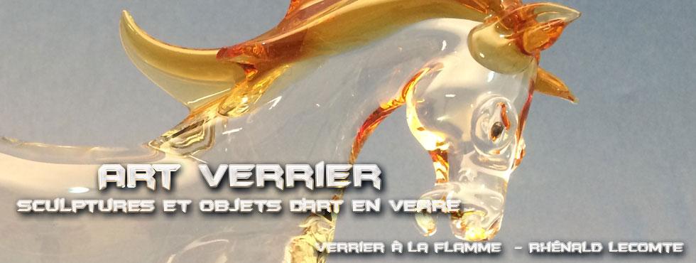 Art Verrier - Décoration intérieure et sculptures équines - Chevaux en verre sculptés à la flamme - Rhénald Lecomte - Artiste verrier au chalumeau - La Gacilly