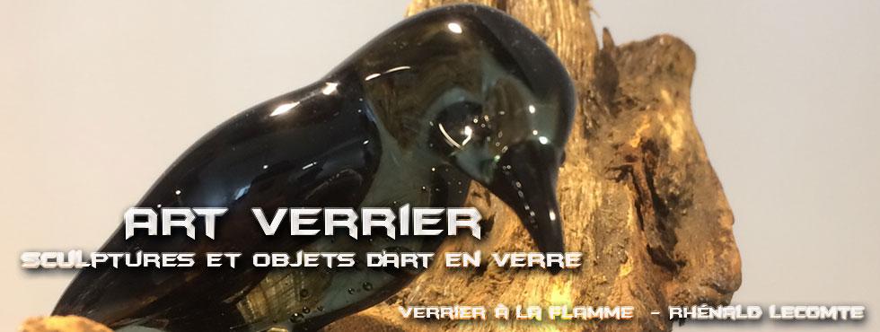 Art Verrier - Sculptures animalières et décoration intérieure - Corbeaux en verre sculptés au chalumeau - La Gacilly