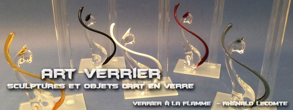Art Verrier - Soliflores animaliers - Chats en verre sculptés à la flamme - Rhénald Lecomte - Artiste verrier au chalumeau - La Gacilly