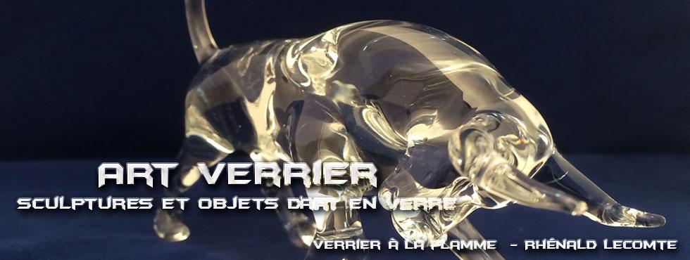 Décoration intérieure et sculptures animalières - Taureaux sculptés en verre - Rhénald Lecomte - Artiste verrier au chalumeau - La Gacilly