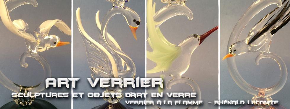 Art Verrier - Verrerie d'art poétique et flûtes à champagne oiseaux - Rhénald Lecomte - La Gacilly