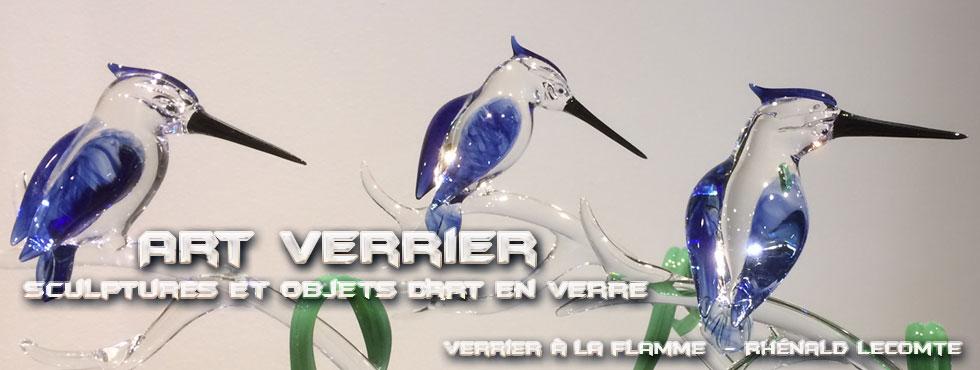 Sculptures animalières - Martins-pêcheurs sculptés en verre - Rhénald Lecomte - Artiste verrier au chalumeau - La Gacilly