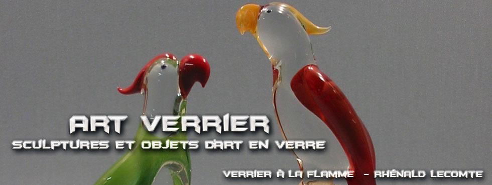 Art Verrier - Sculptures animalières et décoration intérieure - Perroquets en verre sculptés au chalumeau - La Gacilly
