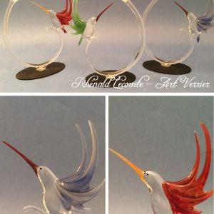 Sculptures colibris en verre - Objets d'art et oiseaux à poser - Créations 2019 - Rhénald Lecomte - Sculpteur animalier au chalumeau