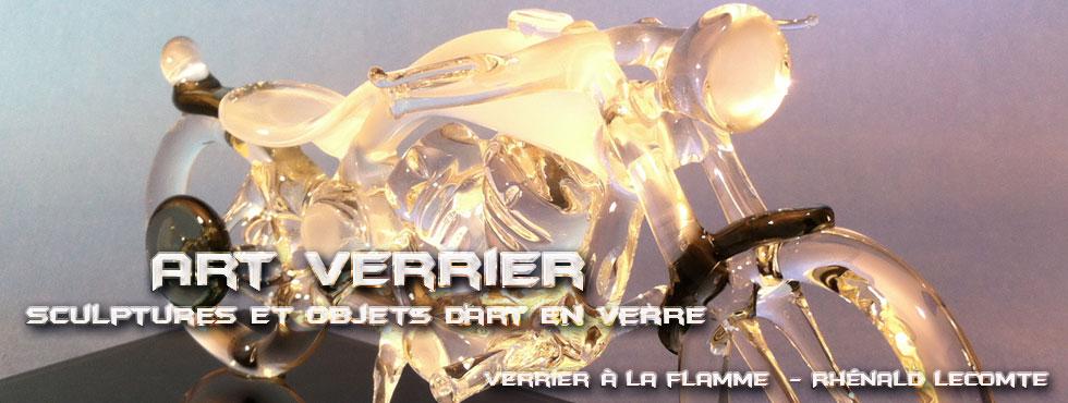Art Verrier - Cadeaux d'art passion Harley-Davidson - Sculptures bobbers et choppers - Rhénald Lecomte - Artiste verrier au chalumeau - La Gacilly