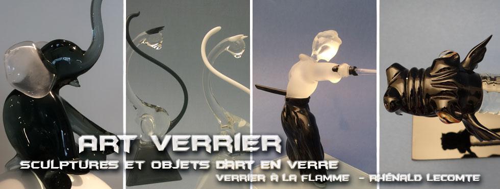 Art Verrier - Décoration Black and White et objets d'art sculptés en verre - Rhénald Lecomte - Artiste verrier au chalumeau - La Gacilly