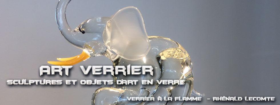 Art Verrier - Décoration Afrique Chic et sculptures éléphants en verre - Rhénald Lecomte - Artiste verrier au chalumeau - La Gacilly