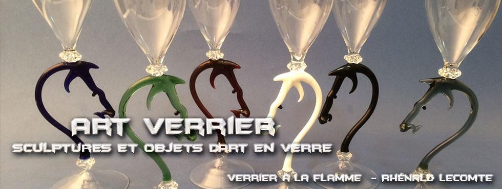 Art Verrier - Verrerie d'art et flûtes à champagne cheval - Rhénald Lecomte - Artiste verrier au chalumeau - La Gacilly