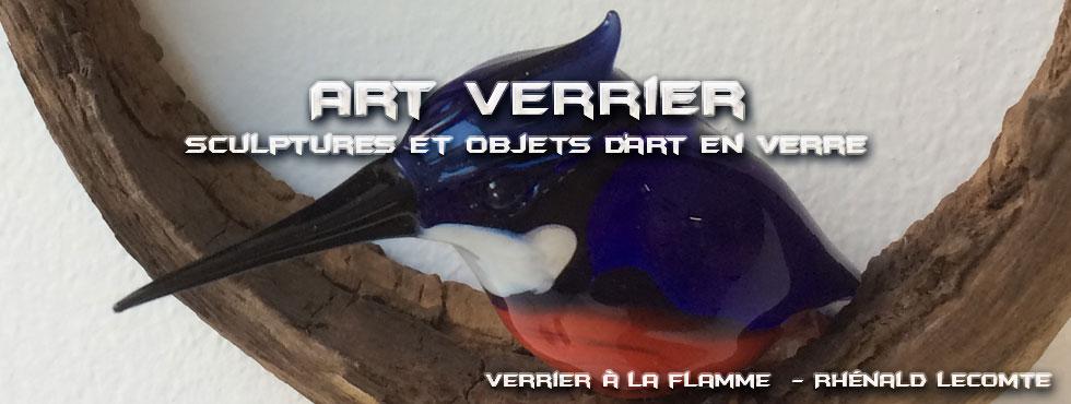 Art Verrier - Oiseaux en verre sur écrins de bois - Sculptures en verre Esprit nature - Rhénald Lecomte - Artiste verrier au chalumeau - La Gacilly