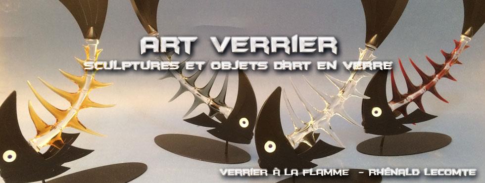Art Verrier - Décoration d'art marine - Sculptures poissons verre et métal - Rhénald Lecomte - Artiste verrier au chalumeau - La Gacilly