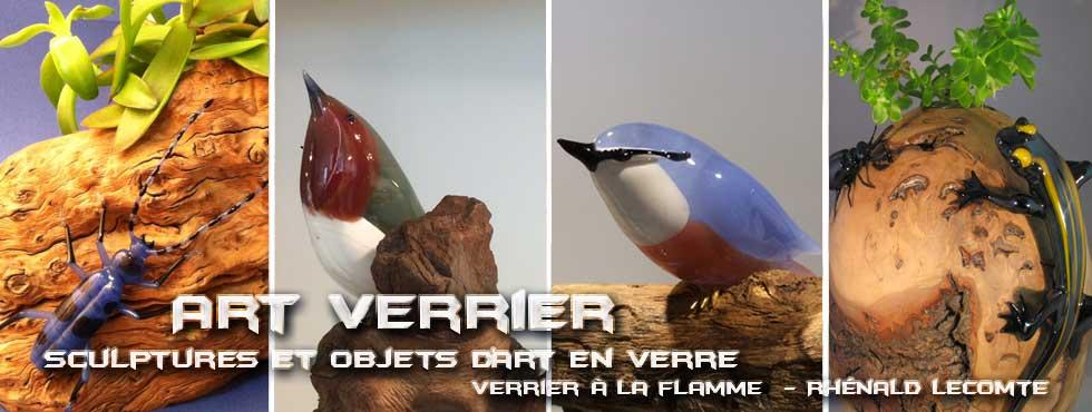 Art Verrier - Cadeau d'art artisanal et sculpture en verre Esprit Nature - Rhénald Lecomte - Artiste verrier au chalumeau - La Gacilly