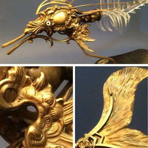 Pièce unique - Sculpture steampunk atypique en verre et métal - Delphibis - Recycl'Art et collaboration Art Verrier - Atelier 1110