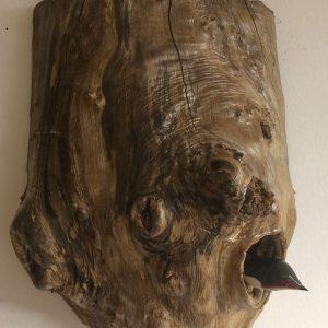 Pièce unique - Décoration murale et sculpture animalière atypique - Cachottier - Rouge-gorge abrité dans son cocon protecteur en bois - Collaboration Art Verrier - Atelier 1110